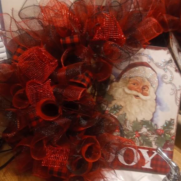 New Handmade Christmas Santa Joy Wreath